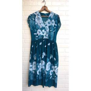 Vintage Sheer Teal Floral Dress FLAW
